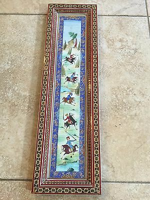 VTG India Mogul Hunting Scene Hand Painted w/Detail Inlaid Wooden Frame