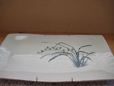 Vintage Japanese/Chinese Orchid Hand Painted Rectangle Art Celadon Plate, Signed