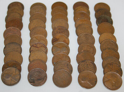 1953-D Roll Lincoln Wheat Cents Circulated 50 coins