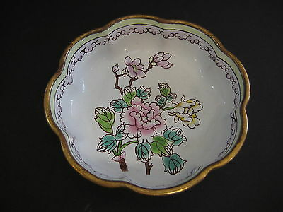 Vintage Chinese Cloisonne Heavy White Bowl, Floral, Number 28 (二八) On The Bottom