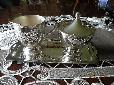 Vintage Silverplate Cream and Sugar with Tray - Italy