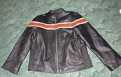Wilsons Leather Kids Long Sleeve Zip Up Jacket Black & Orange Size XL