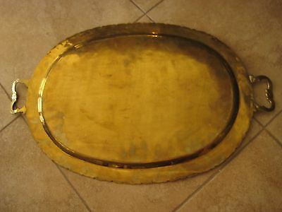 "Vintage Chinese Solid Brass Serving Platter Plate, 27"" X 17"", 4 Lbs 8 Oz Weight"
