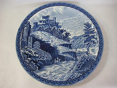 """Large Delft Style Blue And White Porcelain Charger, Made In Japan, 14 1/2"""" Dia"""