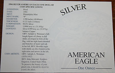 Supplies 1994-P American Silver Eagle NO COINS COA ONLY (flat)