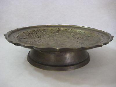 Vintage Chinese Heavy Solid Brass Hand Carved Dragons Footed Bowl Dish