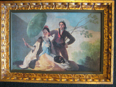 "Old Vintage Print On Canvas With Beautiful Wooden Frame, 13 1/2"" X 9"" (Print)"