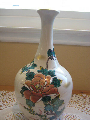 Beautiful Rare Old Antique Japanese Kutani Hand Painted  Floral Vase, Signed