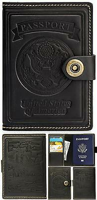 Villini - Leather Us Passport Id Card Holder - Travel Wallet Case For Men Women
