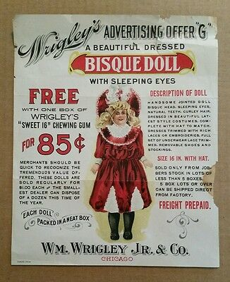 """Wrigley's Gum Premium Offer Sheet """"Bisque Doll With Sleeping Eyes"""" 1890's-1900's"""