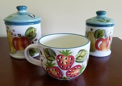 HERITAGE MINT Black Forest Fruits Dinnerware China Large Mug plus 2 Cannisters