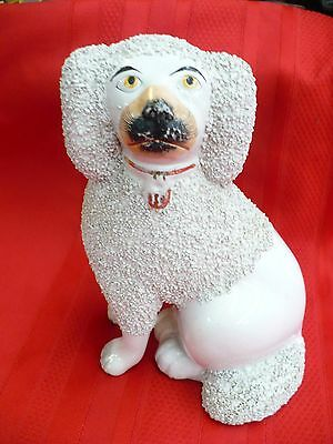 """Z700) Vintage Staffordshire Dog with Applied Textured """"Fur"""""""