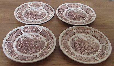 Alfred Meakin FAIR WINDS Brown Salad Plates    Set of 4