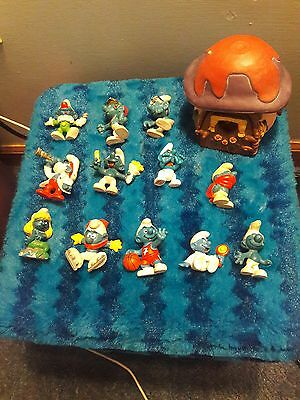 """Lot Of 12 Vintage 2"""" Smurfs From 1980's - Includes Old House"""