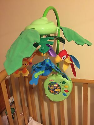 Fisher Price Rainforest Peek A Boo Leaves Cot Mobile With Motion, Lights & Sound