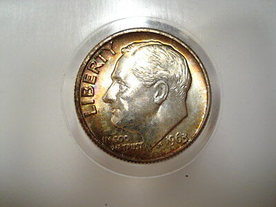 **  1963-D  Roosevelt Dime  **   Nice Toned Coin #1    !!!!!!!!!!!!!!!!!!!!!!!!