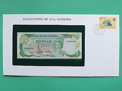 1983 Belize One Dollar $1 Uncirculated Franklin Mint Banknote Cover SNo46122