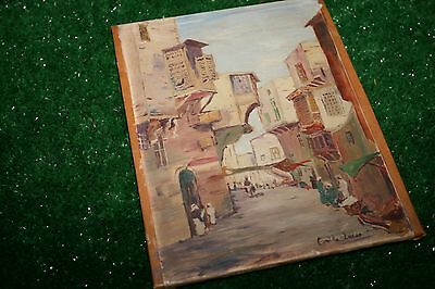 Vintage Signed Oil on Canvas Painting Middle East village Camille Lucas