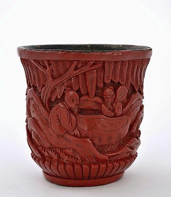 1920 Chinese Cinnabar Lacquer Carved Carving Wine Tea Cup Scholar Figure Garden