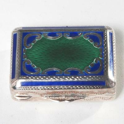 Vintage Italian Sterling Silver And Guilloche Enamel Pill Box