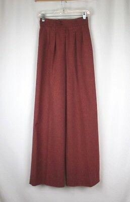 Saint Laurent VTG 1970s Red Wool Wide Leg Pants SZ 4