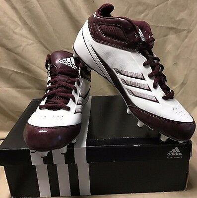 f08142084a24 NEW Adidas AS SMU Scorch X Fly Mid NC Football Cleats Mens Maroon White  G49990