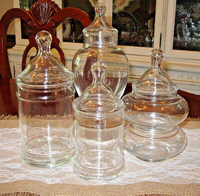 4 Glass Apothecary Display Storage Jars Lot set