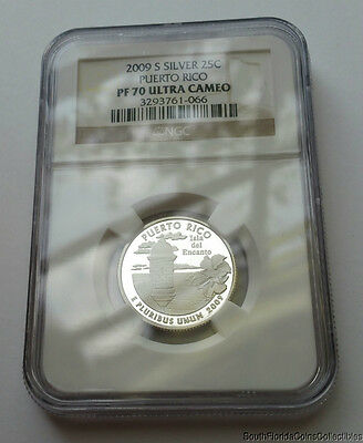PERFECT 2009-S NGC Proof 70 PF 70 Ultra Cameo Puerto Rico Silver Quarter