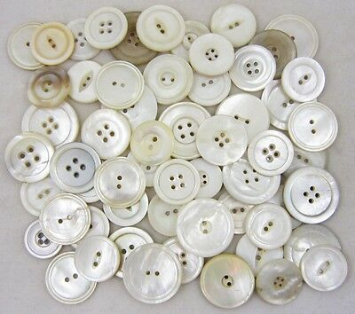 Antique Vintage Shell Buttons ~ Mother-of-Pearl MOP ~ Mixed Lot Medium/Large