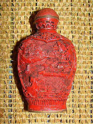 Very Rare Antique Chinese Cinnabar Snuff Bottle Signed On Bottom Rare