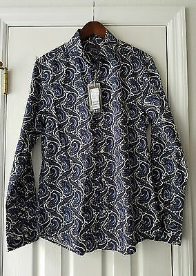 H&M size M mens dress shirt NWT paisley print long sleeve collared button down