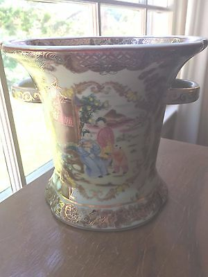Chinese signed famille rose Vase With Handles