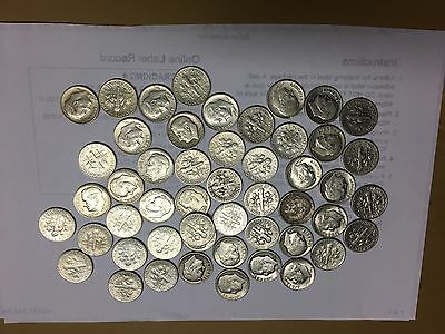 Roosevelt Dimes, Mixed Dates Circulated One Roll 50 Coins 90%silver