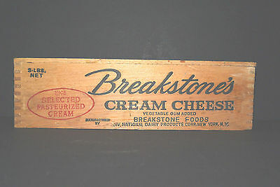 Vintage Breakstone Dovetailed Wood Cream Cheese Box-Cow Graphics