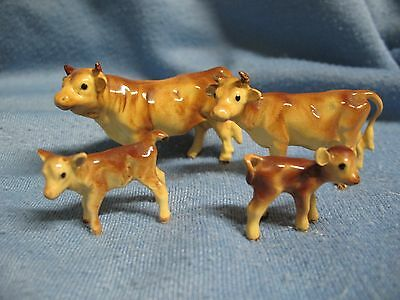 Hagen Renaker Jersey cow family, bull, cow, 2 calves, red brown NR Free Shipping