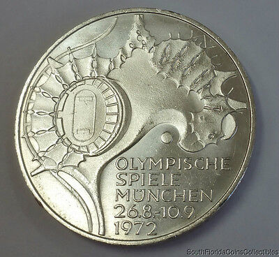 1972-G Germany 10 Mark Olympic .625 Silver Coin Brilliant Uncirculated