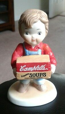 """Campbell Soup 1993 Company Campbell's Kid Boy Holding Soup Crate Figurine 4"""""""