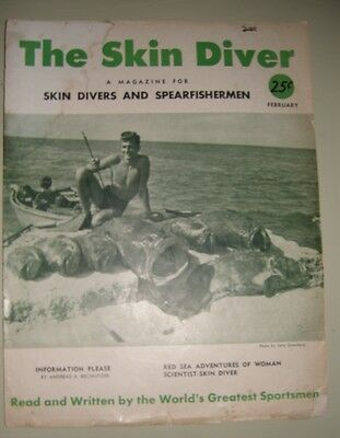 Vintage Scuba Feb. 1952 Skin Diver Magazine Spear Fishing Jerry Greenberg Cover