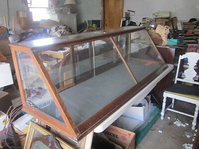6' Oak And Glass Old Country Store Slant Front Counter Top Display Case Showcase