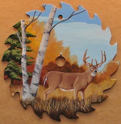 """Hand Painted Saw Blade Deer Buck in Autumn 7 1/4"""" Cabin Lodge Hunting Decor"""