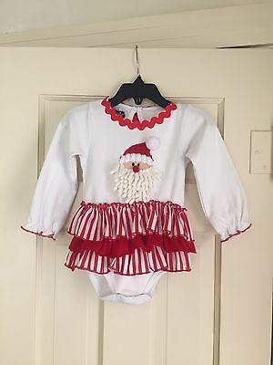 Mud Pie Infant Girls Christmas Santa One Piece Outfit Size 9-12 Months