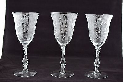 3 Cambridge Glass 3121 Rose Point Water Goblets