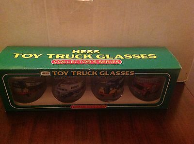 1996 Hess Set Of 4 Toy Truck Collector's Glasses New In Box Mint!!!!!