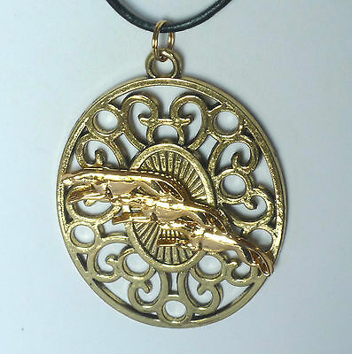 Gold Filigree Medallion w 3 GP Greyhounds or Whippet Dogs, Leather Necklace