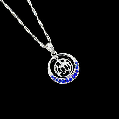 Allah Islamic Silver Plated Blue Rhinestone Round Pendant Necklace Jewelry