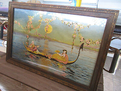 Vintage Antique Serving Tray, Wood, Handles, and Glass Print Display