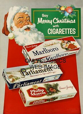 Santa Claus Say's Merry Christmas With Cigarettes Vintage Advertising Poster 01Z