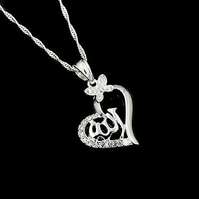 Religious Islamic Allah Silver Plated Rhinestone Heart Pendant Necklace Jewelry