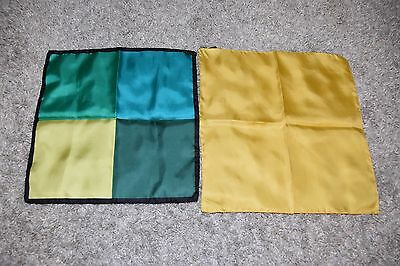 2 vintage DUMONT Silk Handkerchief Pocket Square made in Italy green blue yellow