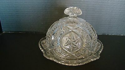 Estate Vintage Pressed Glass Round Butter Dish With Cover